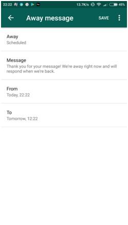 WhatsApp Business Away Messages